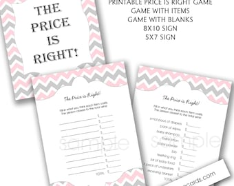 Pink Gray Chevron Price is Right Baby Shower game with sign / instant download, girl baby shower games, pink gray baby shower printables