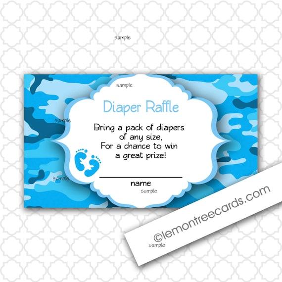 blue camo diaper raffle tickets boy baby shower print your etsy