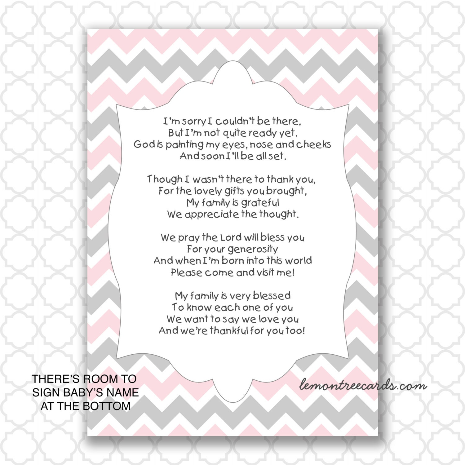 Pink Gray Baby Shower Thank You Notes Instant Download Baby Etsy