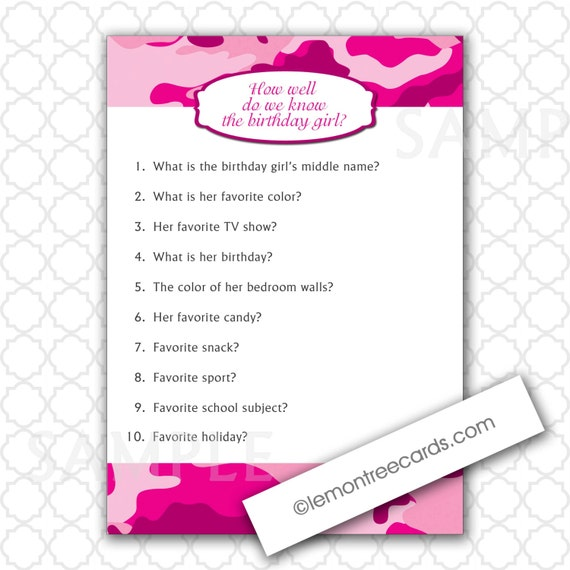 Pink Camo Party Game / How Well Do We Know The Birthday