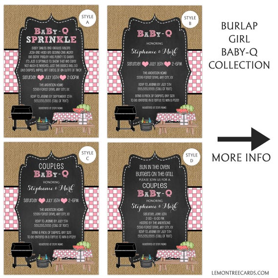 Girl Baby Q Baby Shower Invitations Baby Sprinkle Couples Etsy