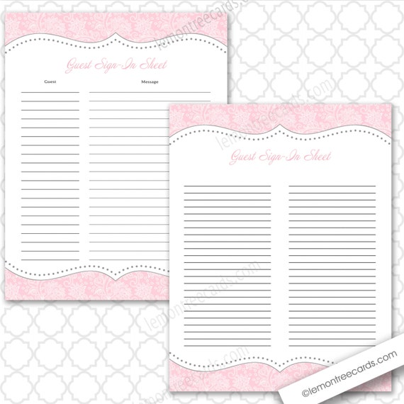 Pink Guest Sign In Sheet Two Versions Included Baby Shower Etsy