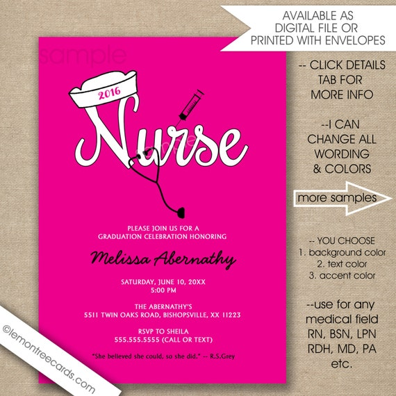 Items Similar To Nurse Pinning Ceremony Invitations Any Color
