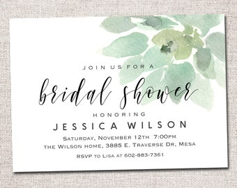 bridal shower invitation bridal shower invite modern bridal shower invitation baby shower wedding shower printable succulent