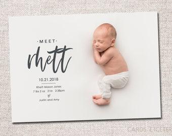 birth announcement photo card photo birth announcement birth announcement girl boy birth announcement modern printable rhett