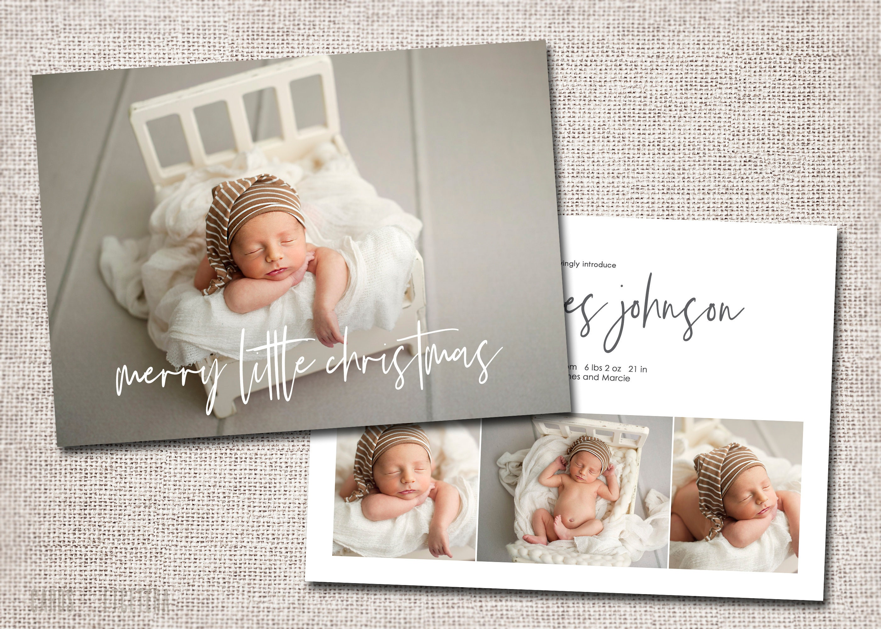 Christmas birth announcement holiday card birth | Etsy