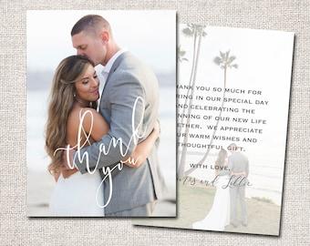 Wedding Thank You Card, Photo Thank You Card, Thank You Card, Printable Thank You Card, Modern Thank You card (Thank You 2 sided)
