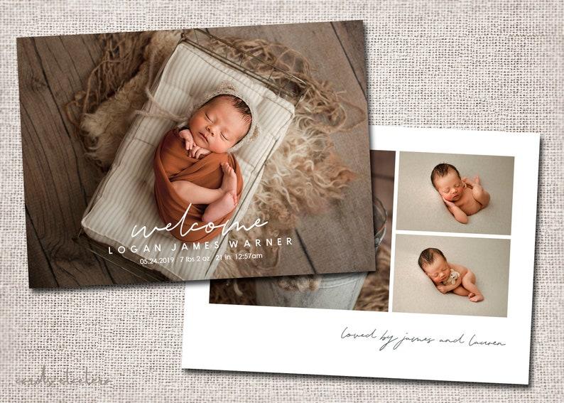 girl boy Birth announcement photo card PRINTABLE baby thank you card birth announcement modern Logan card photo birth announcement