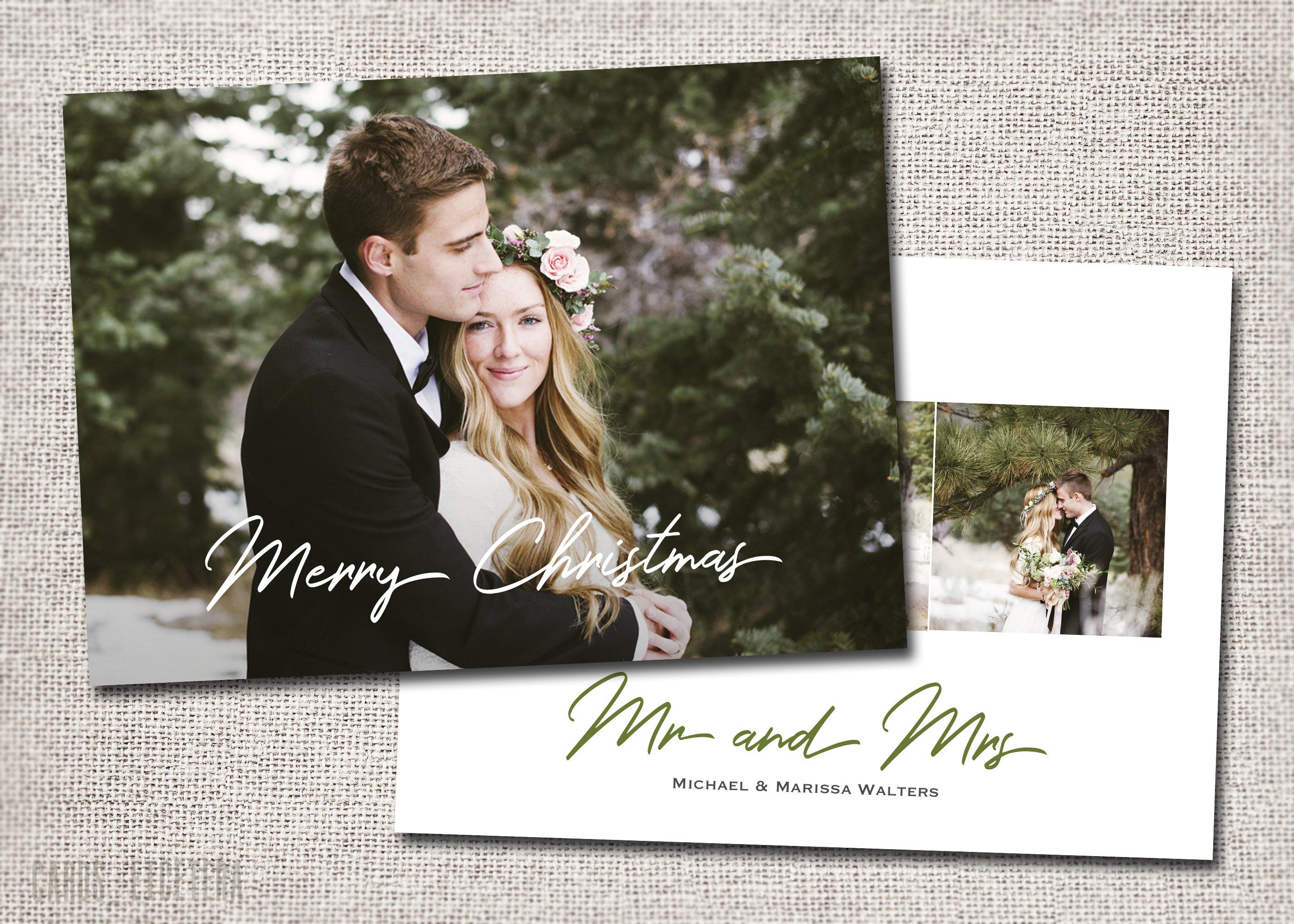 Mr and Mrs Christmas card, First Christmas, Married, Wedding Christmas Card, Photo, Just Married Christmas Card: PRINTABLE - Mr and Mrs
