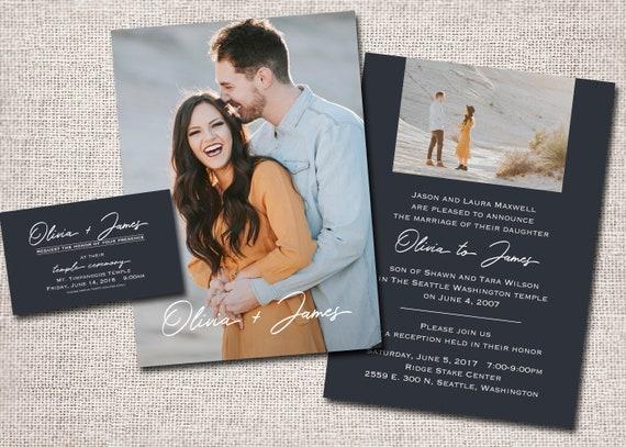 Lds Wedding Zaproszenie Zaproszenie ślubne Zdjęcie Etsy
