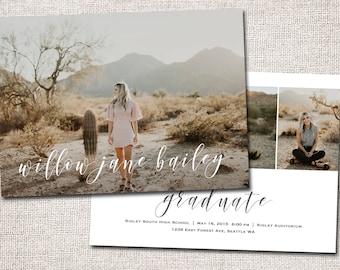 Graduation Announcement, Graduation Invitation, Modern Graduation Invitation,  party, Printable Graduation Invitation:  PRINTABLE  |  Willow