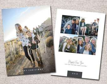 "Photo Christmas Card, Christmas Card, Holiday Card: PRINTABLE (""Merry Christmas and Happy New Year"" custom card)"
