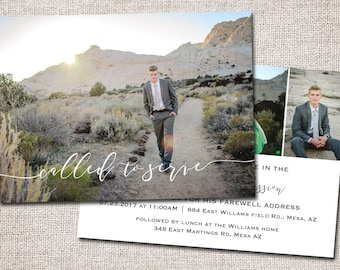 LDS Missionary Farewell invitation, Missionary farewell invitation, Elder, Sister, Farewell invite, PRINTABLE (Called to Serve 2 sided)