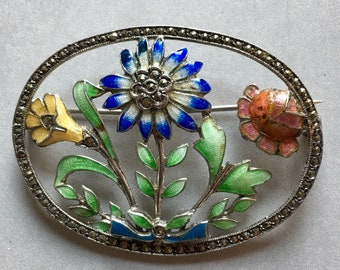 Sterling silver & enamel brooch with marcasites - enameled flowers