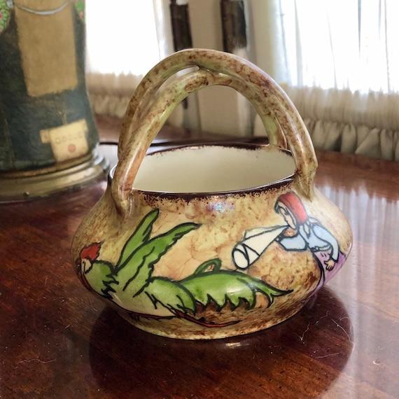 Stellmacher Turn Teplitz Vase Girl chasing Rooster