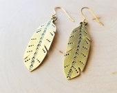 Feather Brass Dangle Earrings