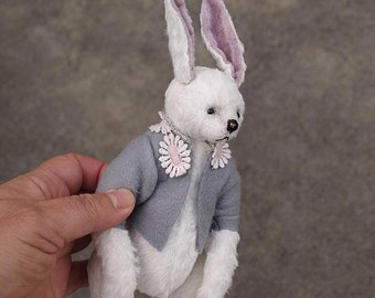 Purdy, One Of A kind White Viscose Hare Rabbit by Aerlinn Bears