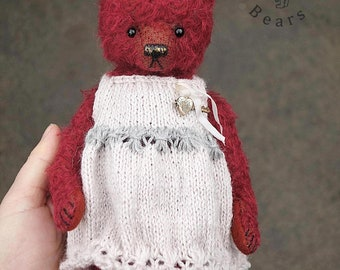 """Katya, 9"""" Red Mohair Artist Teddy Bear by Aerlinn Bears"""