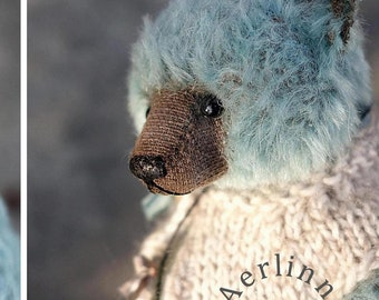 Charming, Turquoise Mohair Artist Teddy Bear from Aerlinn Bears