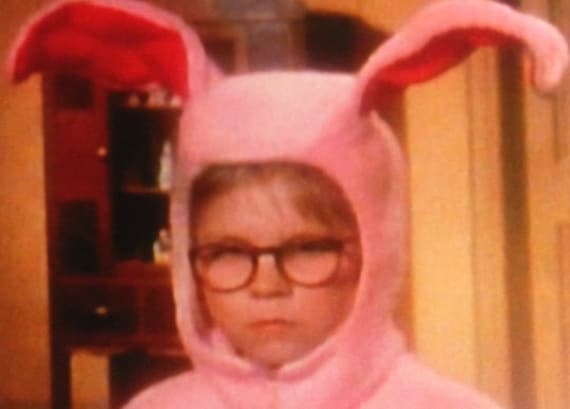 Christmas Story Bunny Pajamas.X1 Raphie In A Bunny Suit A Christmas Story A Pink Nightmare It Is The Thought That Counts
