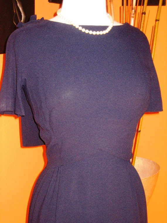 Late 40s Early 50s Navy Blue Wiggle Dress