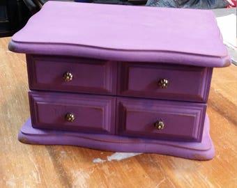 Repurposed Purple Small Jewelry Box