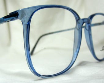 041de69c58 Vintage 80s Oversized Eyeglass Frames. Large Blue Glasses