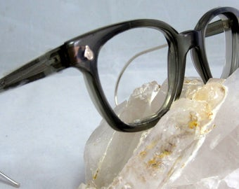 Vintage EyeGlasses Mens Horn Rim Safety Frames. Gray Translucent with coil Temples