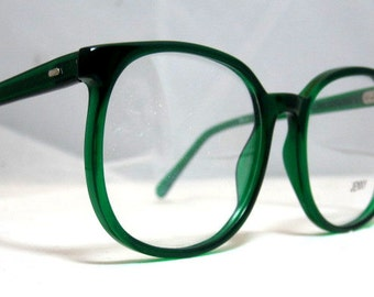 8c22446e26 Vintage 80s Large Square Horn Rim Eyeglass Frames. Bright Emerald Green