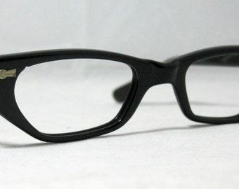 574291ec9d Vintage 50s Cat Eye Glasses. Black Half Lens Reading Cat Eye Frames