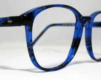 9d52a08ce6 Vintage 80s Large Horn Rim Eyeglass Frames. Blue and Black Tortoise