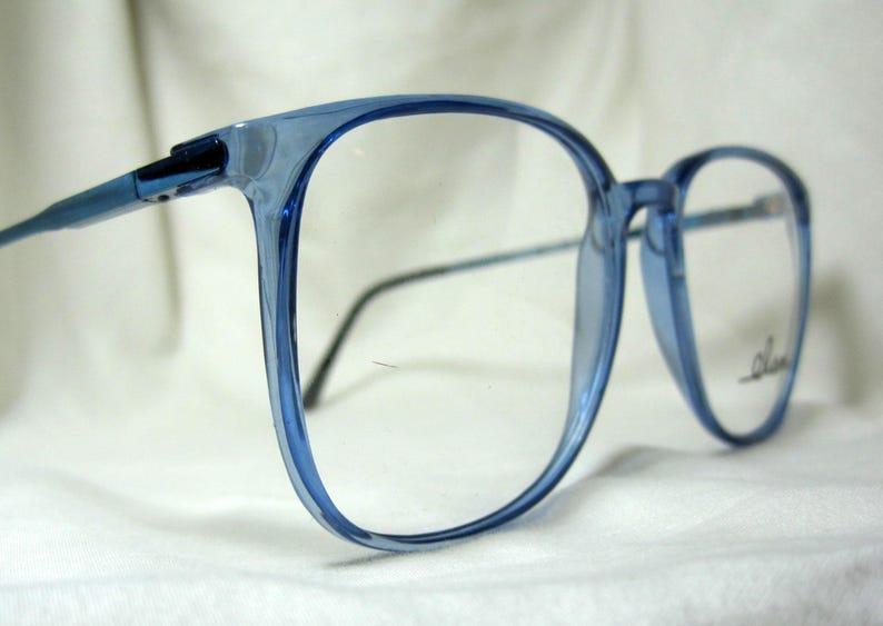 482f2d4cf7908 Vintage 80s Oversized Eyeglass Frames. Large Blue Glasses