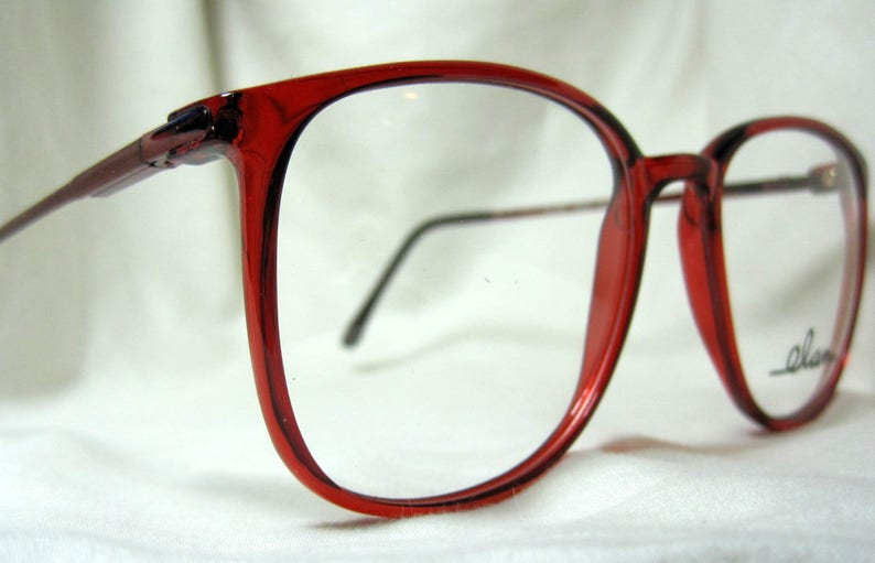 5d146a2b7e Vintage 80s Oversized Eyeglass Frames. Cherry Red Wine