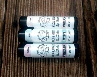 LIP BALM - Handcrafted Goat Milk Lip Balm (Honey, Cocoa Butter and Vitamin E) - .15 Oz