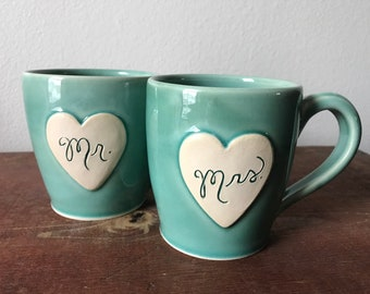 2018 Newlywed Couple Mr. and Mrs. mug set In Garden Green Just married, Ready to Ship