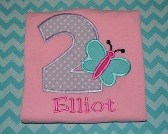 Monogrammed Personalized Butterly Birthday Shirt