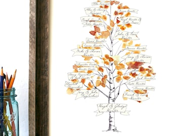 Watercolor family tree   custom family tree   printed birch tree   Personalized Gift, Printed or hand painted   spring and autumn colors