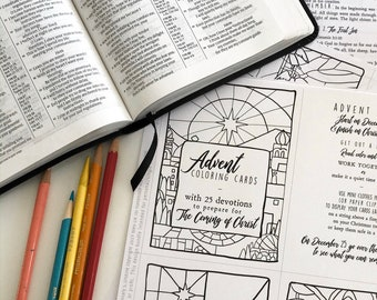 Advent Coloring Cards with devotionals, advent calendar, Digital download organizational use, coloring pages, Christian education