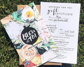 "Gift Certificate for Custom Watercolor 16x20"""