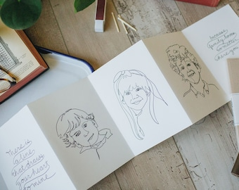 Modern Line Portrait cards, Custom Drawn Accordion Card package, There is a line that draws your heart to mine
