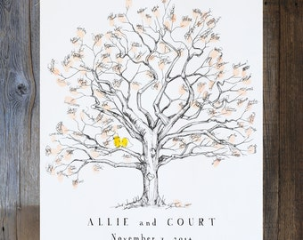 Fingerprint tree, Wedding Guest Book Alternative, thumbprint tree, unique guest book, Twisted oak for 80-150 guests, Rustic Wedding,Oak Tree
