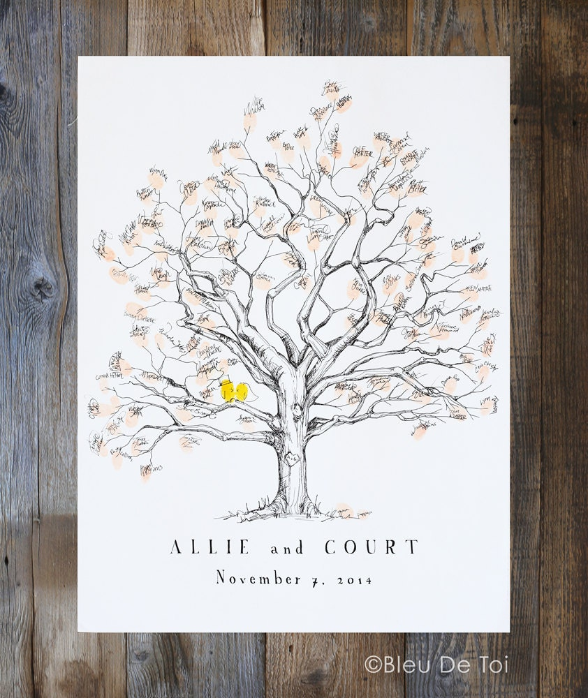 Guest Book Alternative Thumbprint Wedding Tree Fingerprint: Fingerprint Tree Wedding Guest Book Alternative Thumbprint