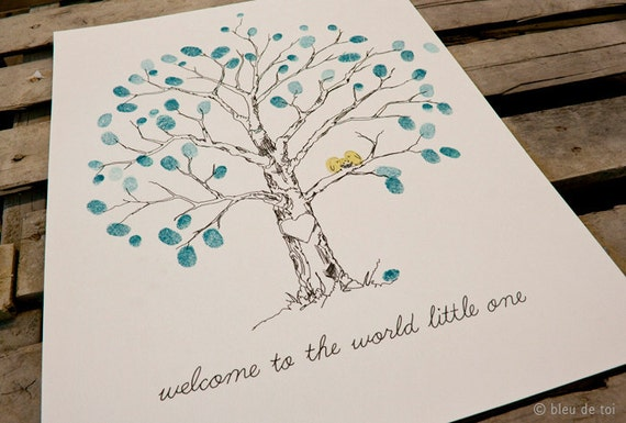 Guest Book Ideas Fingerprint Tree Unique Baby Shower Etsy