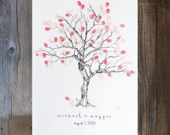 Custom Alternative Wedding Guest Book, Fingerprint tree, XS Cherry Blossom Tree, Personalized Wedding GuestBook, thumbprint tree baby shower