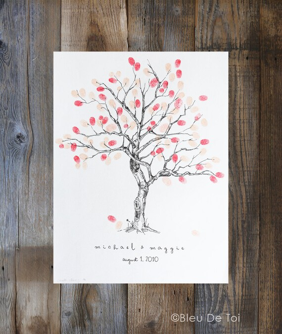 Personalized Thumbprint Tree Wedding Guest Book Alternative: Custom Alternative Wedding Guest Book Fingerprint Tree XS