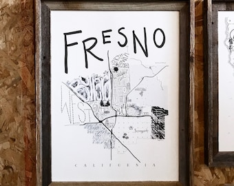 Hand lettered map, Fresno California Map, wall map, Central Valley pride, home decor, local map, CA map