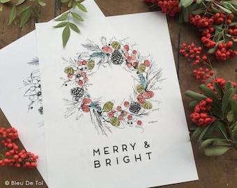 Winter Wreath Guest Book Ideas: Rustic Holiday Wedding, Family Fingerprint Guestbook, Wall Art