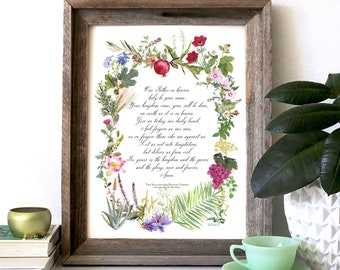 The Illustrated Prayer Garden, Watercolor botanicals, The Lords Prayer, Personalizable, Floral Illustration