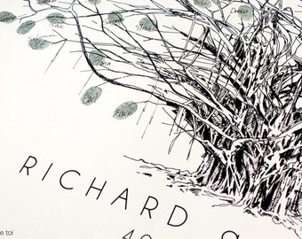 RESERVED custom design, bespoke tree, fingerprint tree, Wedding Guest Book Alternative