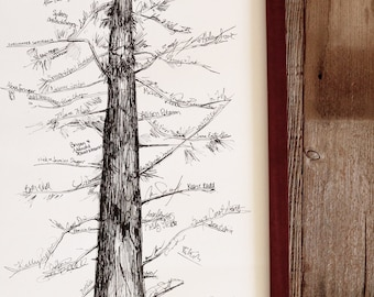 Wedding Guest Book Alternative, Signature Tree, unique guest book, pine tree, housewarming gift, fingerprint tree, rustic home